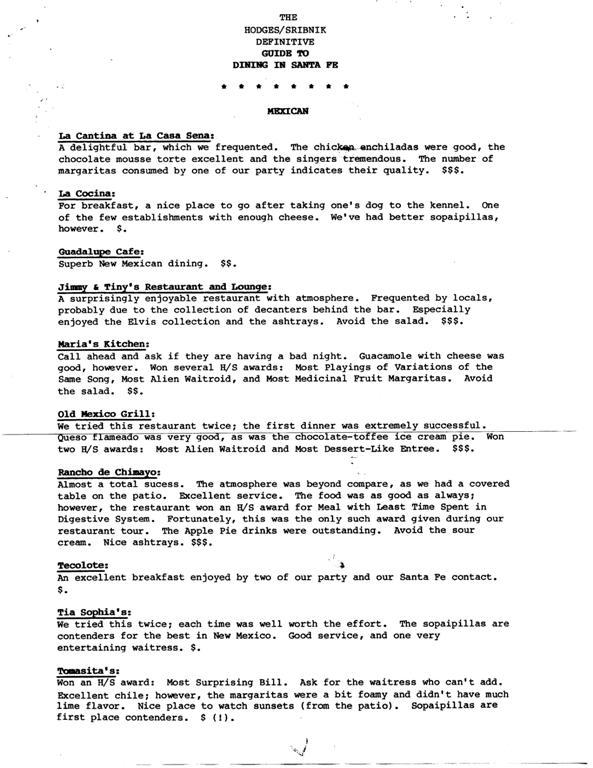 5x32x7: Santa Fe Dining, 1986