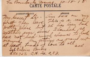 Letters home from Calvin Leroy Bruce, during WWI.